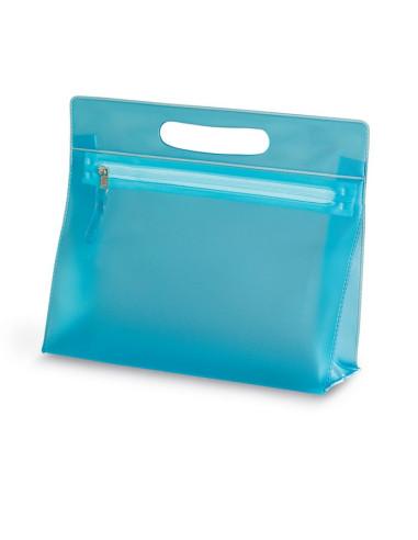 10 trousses de toilette transparentes bleues