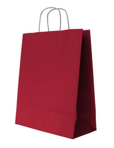 250 Sacs cabas kraft rouge à poignées torsadées