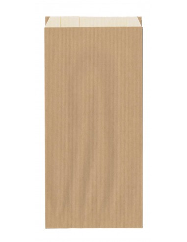 100 Sacs papier à soufflets kraft brun doublé kraft blanc 25 + 9 x 62 cm